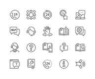Linha ajuda e ícones do apoio ilustração stock