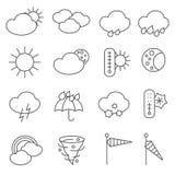Linha ajustada ícones dos símbolos da previsão de tempo ilustração stock