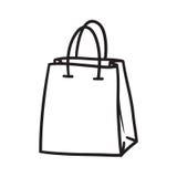 Linha ajustada símbolos do ícone do saco do supermercado da compra da garatuja Imagem de Stock Royalty Free