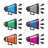 Linha ajustada símbolos do vetor do grupo do ícone do megafone do orador do chifre da garatuja Fotos de Stock