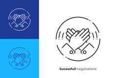 Linha alta ícone de cinco mãos do vetor da arte imagem de stock royalty free