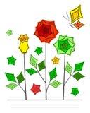 Linha angular artística cartão da flor da arte Imagens de Stock Royalty Free