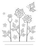 Linha angular artística cartão da flor da arte Fotos de Stock Royalty Free