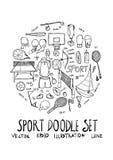 Linha apta estilo eps1 do formulário do círculo da ilustração da garatuja do esporte do esboço ilustração do vetor