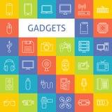 Linha Art Electronic Gadgets Icons Set do vetor Foto de Stock Royalty Free