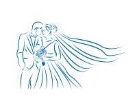 Linha Art Logo do casamento dos pares de Lovelly Fotos de Stock Royalty Free