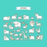 Linha Art Vetora Icons dos animais Fotos de Stock Royalty Free