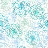 A linha arte azul floresce o fundo sem emenda do teste padrão Imagens de Stock