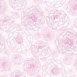 A linha arte cor-de-rosa floresce o fundo sem emenda do teste padrão Fotos de Stock