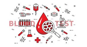 Linha arte da ilustração do vetor da análise de sangue Imagens de Stock Royalty Free