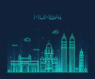 Linha arte da ilustração do vetor da skyline da cidade de Mumbai Fotografia de Stock