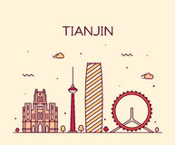 Linha arte da ilustração do vetor da skyline de Tianjin Foto de Stock
