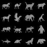 Linha arte de Digitas dos ícones dos animais ilustração royalty free