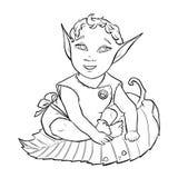 Linha arte do duende do bebê Fotos de Stock