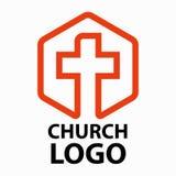 A linha arte do logotipo das igrejas cristãs sob a forma de uma cruz pretendeu para organizações religiosas cristãs Imagem de Stock Royalty Free