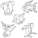 Linha arte dos desenhos animados do animal de estimação Foto de Stock