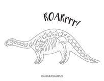 Linha arte preto e branco com esqueleto do dinossauro Fotos de Stock Royalty Free