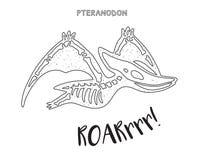 Linha arte preto e branco com esqueleto do dinossauro Fotografia de Stock
