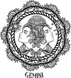 Linha arte tirada mão de gemini do zodíaco Vetor Foto de Stock Royalty Free