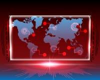 Linha ataque do Cyber do mapa do mundo pelo fundo do conceito do hacker ilustração royalty free