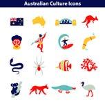 Linha australiana grupo da cultura do ícone Sinais e marcos nacionais ilustração royalty free