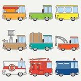 Linha automóvel retro bonito ajustado da cidade do ícone liso do vetor da cor Veículo do auxílio da emergência Estilo dos desenho ilustração do vetor