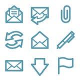 Linha azul ícones do email Imagens de Stock