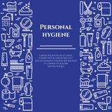 Linha azul bandeira de higiene pessoal Grupo de elementos do chuveiro, do sabão, do banheiro, do toalete, da escova de dentes e d Imagem de Stock Royalty Free