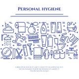 Linha azul bandeira de higiene pessoal Grupo de elementos do chuveiro, do sabão, do banheiro, do toalete, da escova de dentes e d Foto de Stock Royalty Free