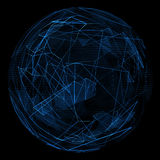 Linha azul do fulgor abstrato do globo Foto de Stock