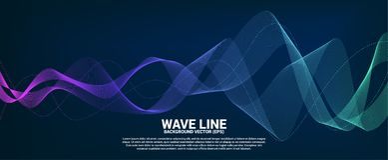 Linha azul e verde curva da onda sadia no fundo escuro foto de stock
