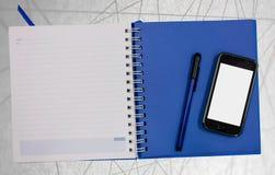 Linha azul fundo do sumário do livro do diário do telefone celular foto de stock royalty free