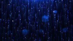 Linha azul glamoroso e partículas do brilho em um fundo preto vídeos de arquivo