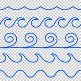 Linha azul teste padrão da onda do vetor sem emenda ilustração stock