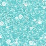 Linha azul teste padrão sem emenda das conchas do mar da arte Fotos de Stock Royalty Free