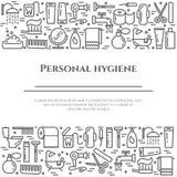 Linha bandeira da higiene pessoal Grupo de elementos do chuveiro, do sabão, do banheiro, do toalete, da escova de dentes e dos ou Foto de Stock Royalty Free