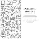 Linha bandeira da higiene pessoal Grupo de elementos do chuveiro, do sabão, do banheiro, do toalete, da escova de dentes e da out Fotos de Stock Royalty Free