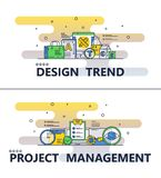 Linha bandeira do vetor do cartaz da tendência do projeto da arte ilustração royalty free