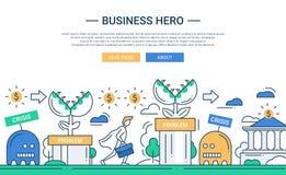 Linha bandeira lisa do herói do negócio do projeto com desafio do negócio Imagem de Stock