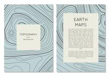 Linha bandeiras do contorno do mapa da topografia ajustadas Fotografia de Stock