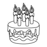 Linha bolo delicioso com estilo ardente das velas ilustração stock