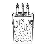 Linha bolo doce com estilo ardente das velas ilustração stock