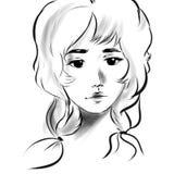 Linha bonita do preto da cara do retrato da menina ilustração do vetor