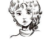 Linha bonita do preto da cara do retrato da menina ilustração stock