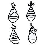 Linha bonito grupo dos desenhos animados dos chapéus do partido do motivo da ilustração do vetor da arte Mão tirada para a ocasiã ilustração do vetor
