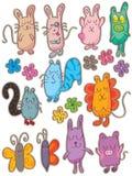 Linha bonito grupo dos desenhos animados da tração Imagem de Stock