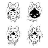 Linha bonito preto da menina da cara limpa da ilustração ilustração royalty free