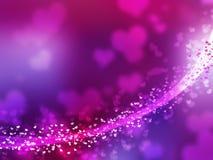 Linha borrada dos sparkles e da incandescência do roxo. Coração sh Fotografia de Stock Royalty Free