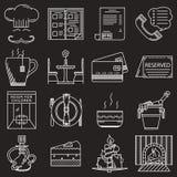 Linha branca ícones do serviço do restaurante Fotos de Stock