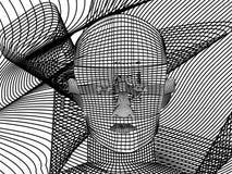 A linha branco da cara da arte ilustração stock